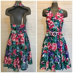 Vintage 80's Floral Halter Neck Dress